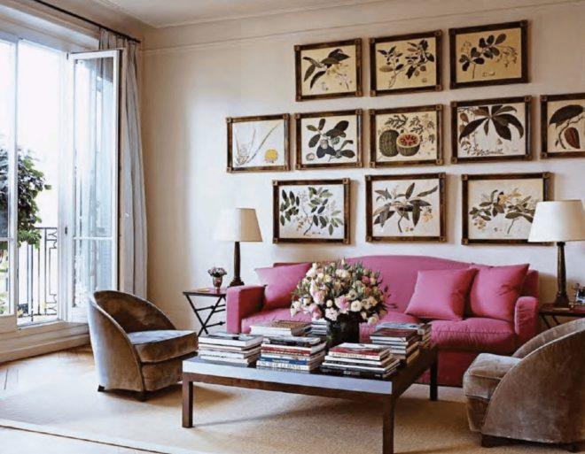 Вышивка в современной гостиной