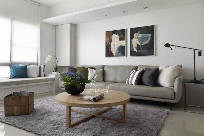 Светлая гостиная в стиле минимализм