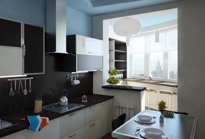 Небольшая кухня объединённая с балконом