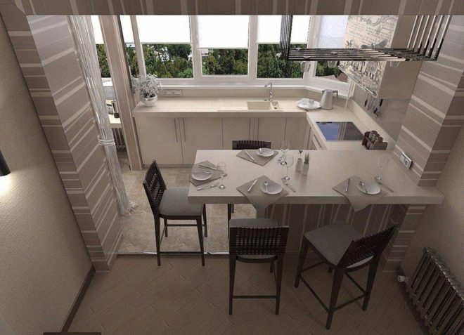 Один из вариантов объединения кухни с балконом