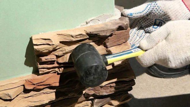 Оформление краёв стены декоративным камнем