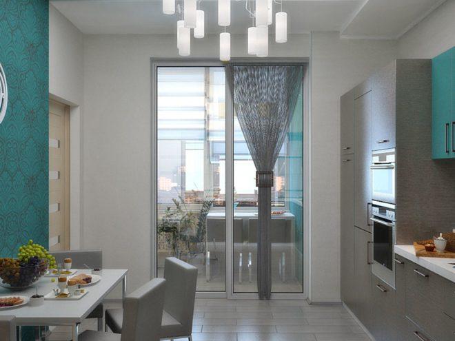 Панорамная дверь между кухней и лоджией