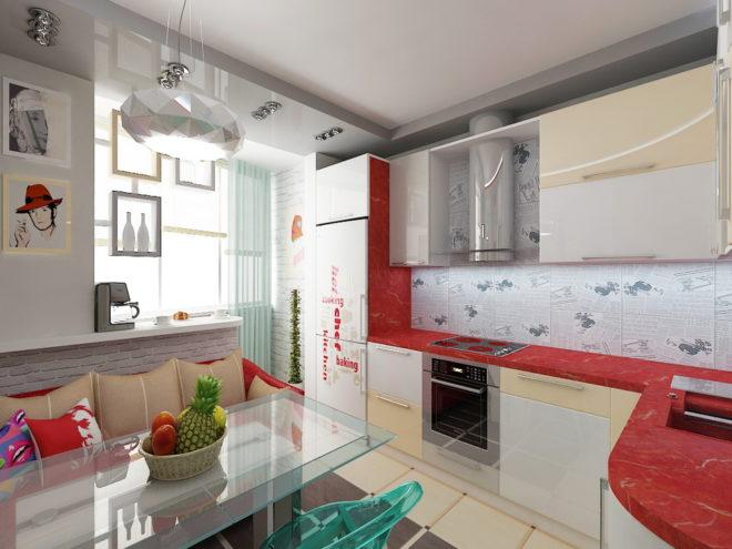Поп-арт в кухне, объединённой с лоджией
