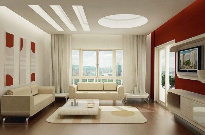 Потолок гостиной в стиле хай-тек