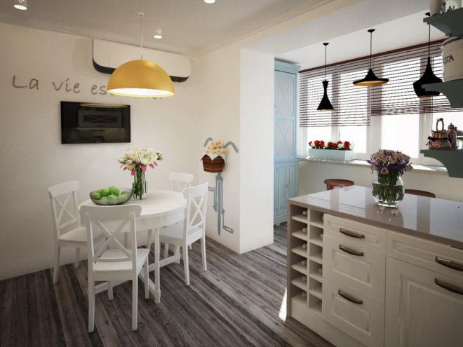 Прованс на кухне, совмещённой с балконом
