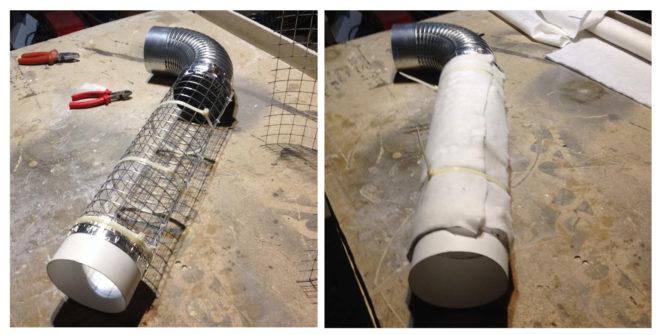 Сборка шумоглушителя из стальной сетки и трубы