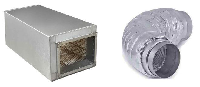 Трубчатый прямоугольный и гибкий шумоглушители