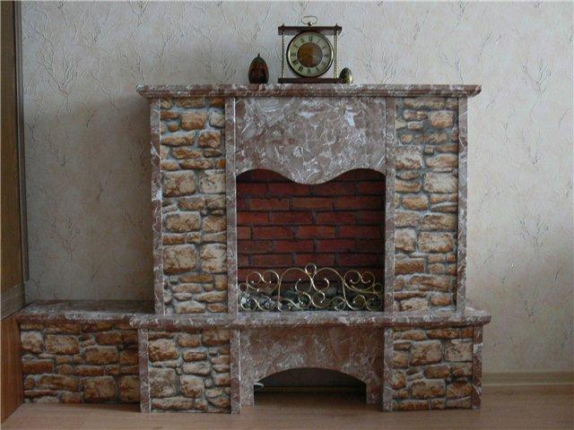 декоративный камин своими руками с декоративной плёнкой под камень