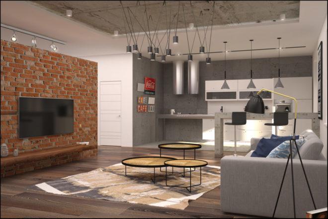 бетонный потолок в интерьере гостинной