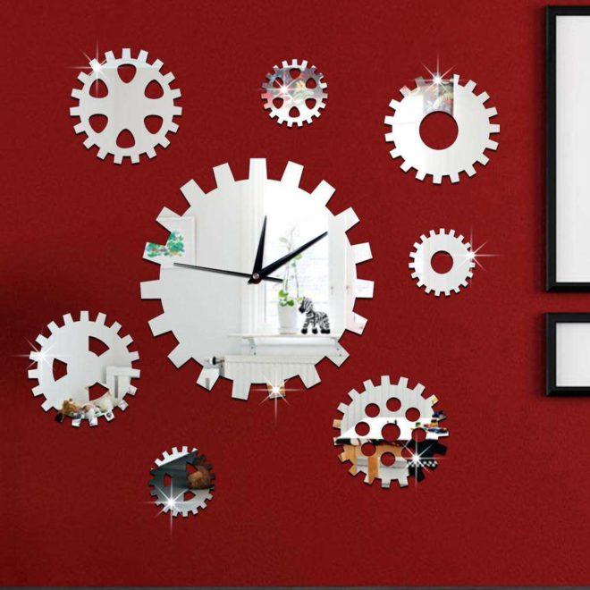креативные часы на стену с шестеренками