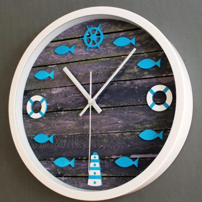 креативные часы на стену в морском стиле