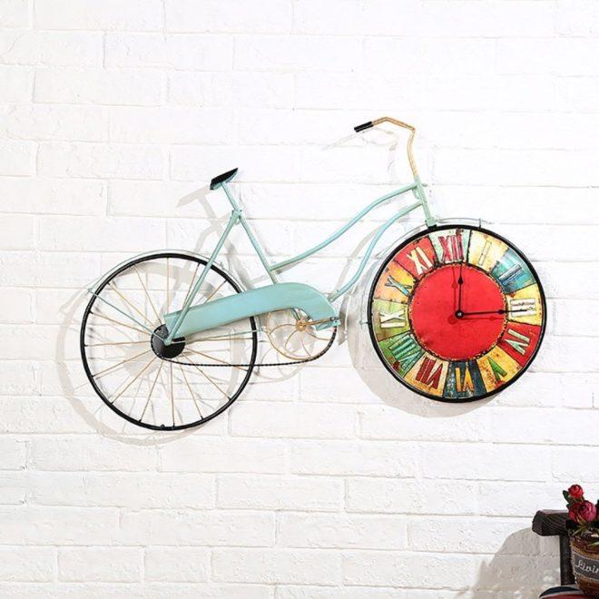 креативные часы на стену в виде велосипеда