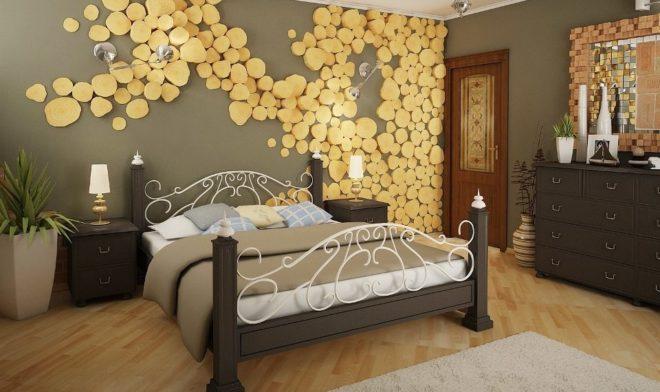 украшение спальни спилами