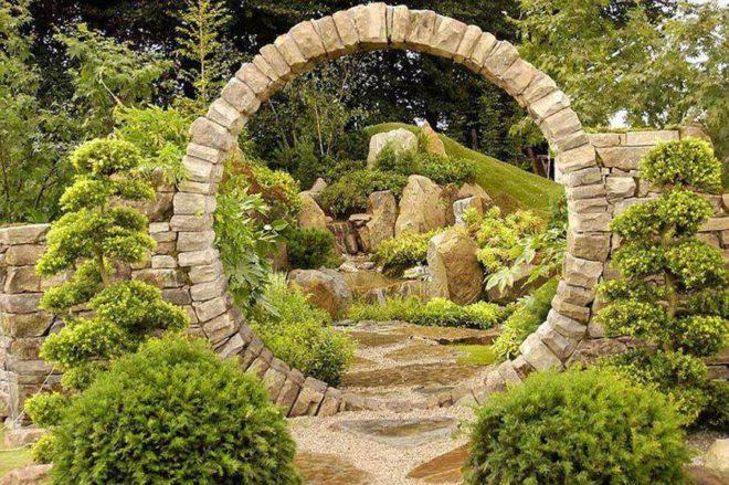 ландшафтный дизайн двора частного дома с каменной аркой