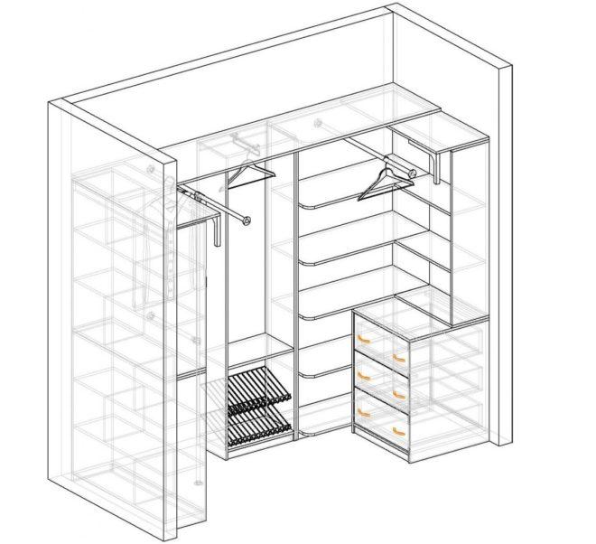 Схема компактной гардеробной для небольшой комнаты
