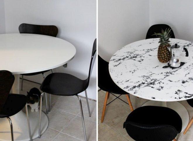 белый столик с наклеенной плёнкой