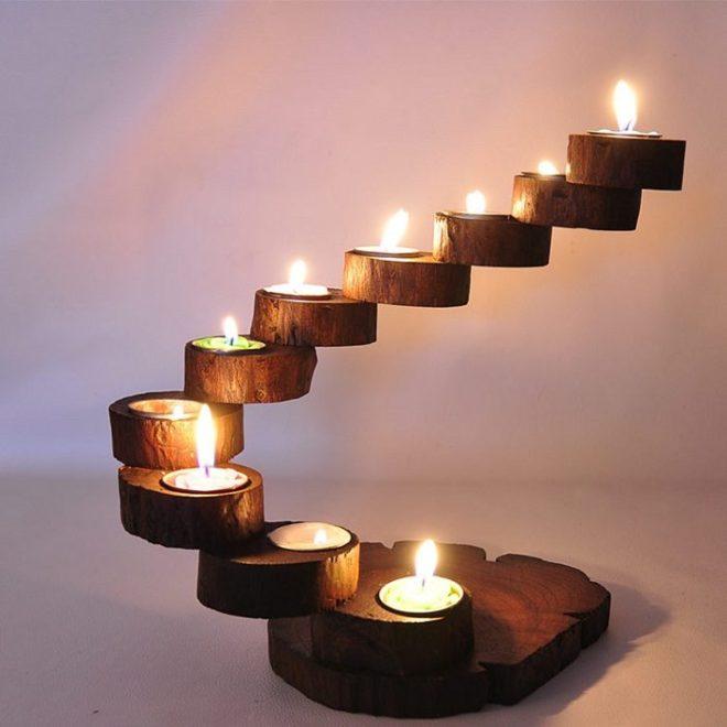 Светильник из деревянных плашек