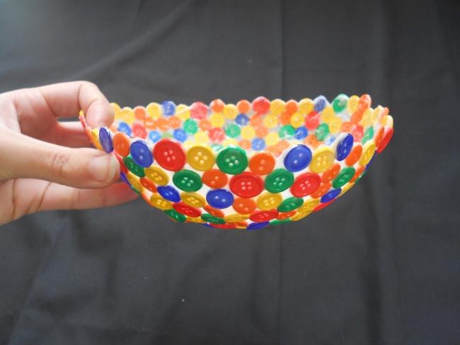 конфетница из старых пуговиц своими руками