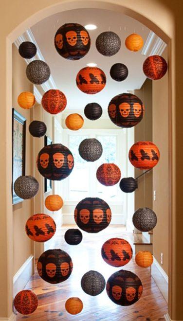 Хэллоуинский декор из китайских бумажных фонариков