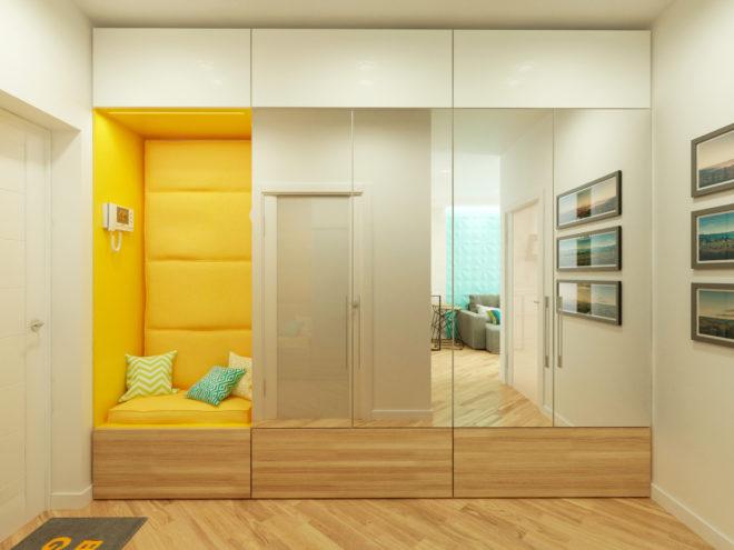встроенный зеркальный шкаф с нишей
