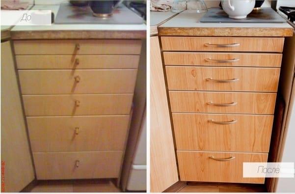 Новая фурнитура на старом кухонном шкафчике