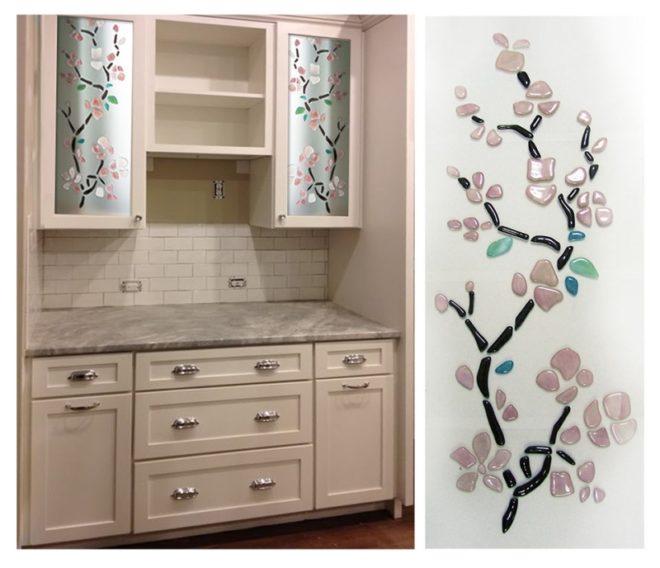Мозаика на стёклах кухонного гарнитура