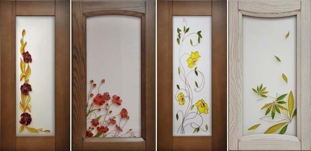 Рисунки на стёклах для кухонных шкафчиков