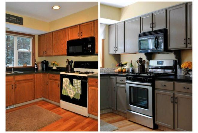 Новая окраска старой кухонной мебели