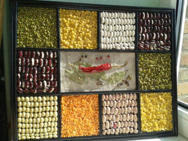 панно для кухни из круп и семян