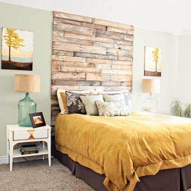 как украсить стену над кроватью своими руками