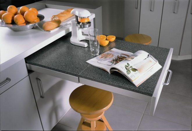 Использование складной мебели на кухне