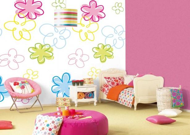 Обои двух цветов в интерьере детской