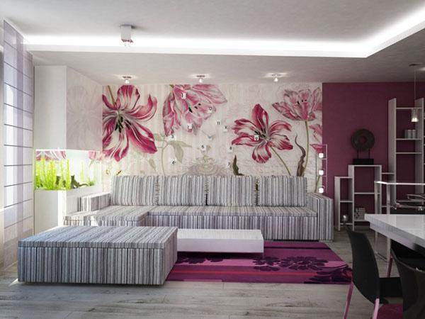 Интерьер гостиной с обоями с разным рисунком