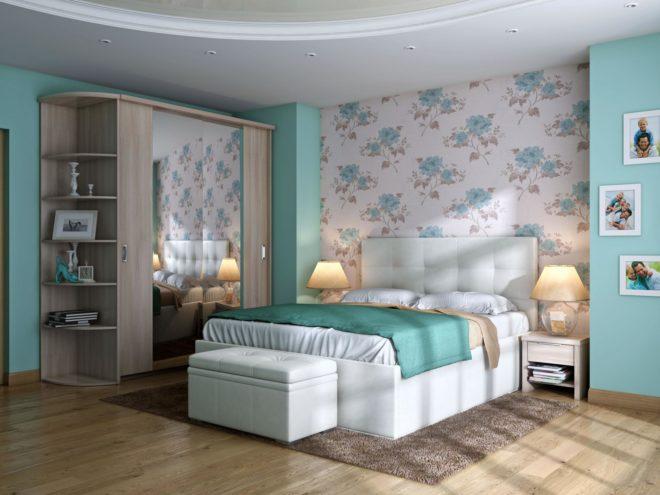 Вертикальное комбинирование обоев в интерьере спальни