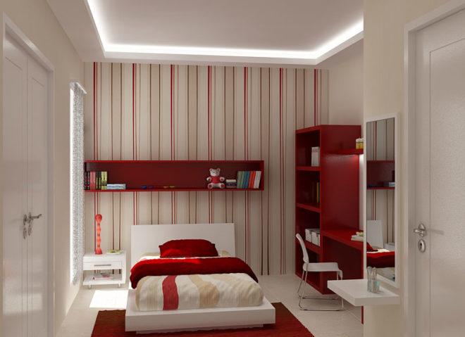 Интерьер спальни с вертикальным комбинированием обоев