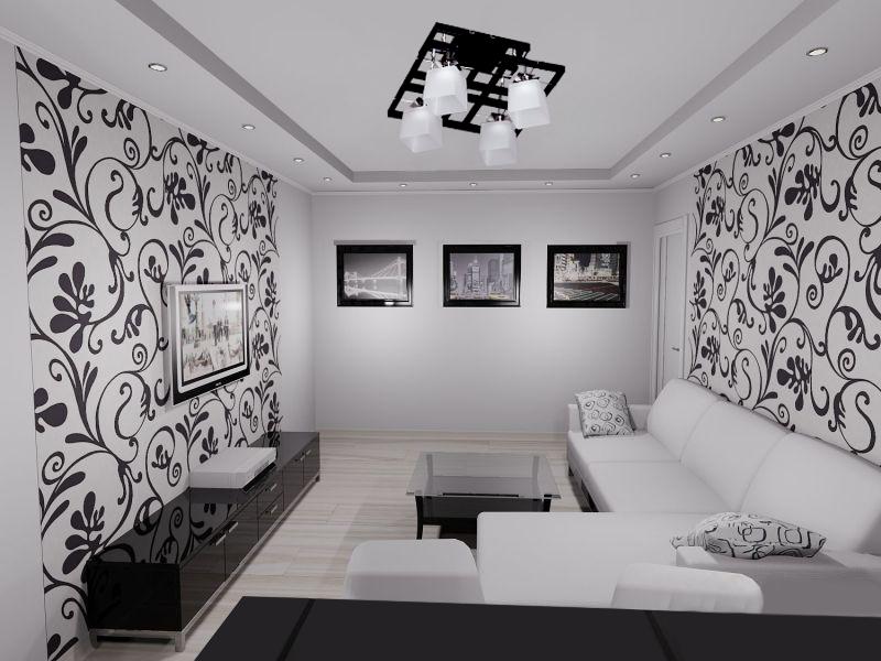 Черно белые фото в интерьере гостиной те