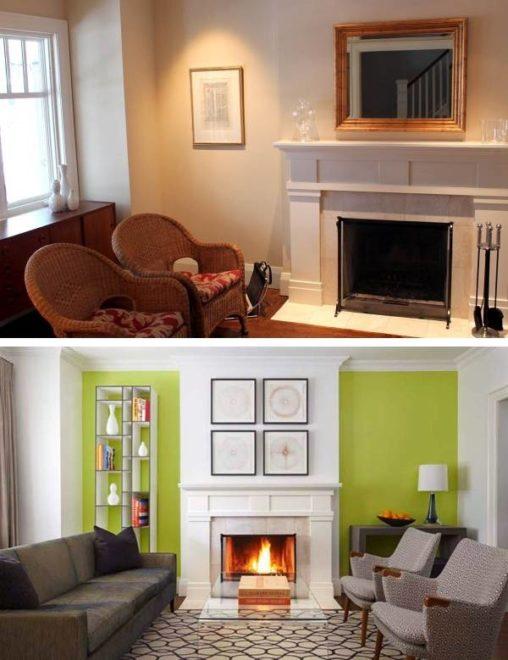 Гостиная до и после ремонта