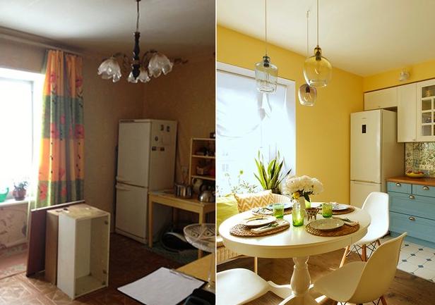 Кухня в солнечных тонах после ремонта
