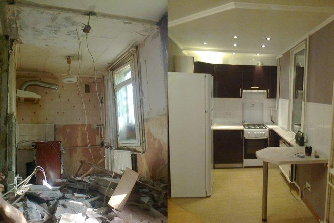 Уютная кухня после ремонта