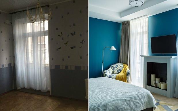 Дизайн спальни с камином после ремонта