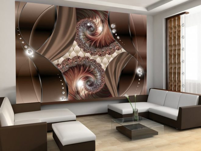 Фотообои в интерьере гостиной