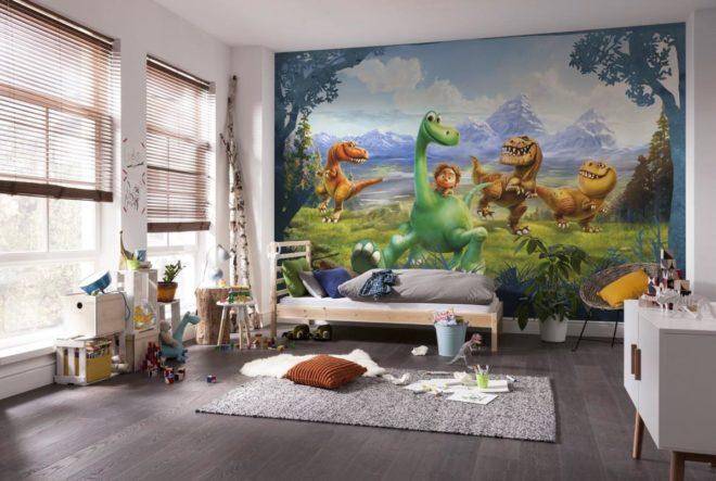 Обои с изображением динозавриков в детской комнате