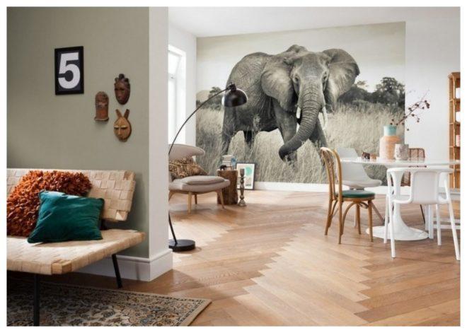 Фотообои со слоном, расширяющие пространство