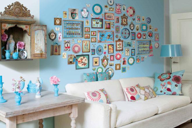 декор стены своими руками из разных картинок