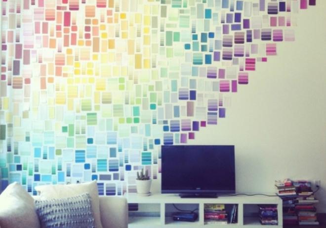 Радуга из цветных стикеров для декора стены