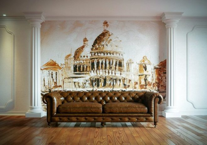 Фрески на стенах в интерьере