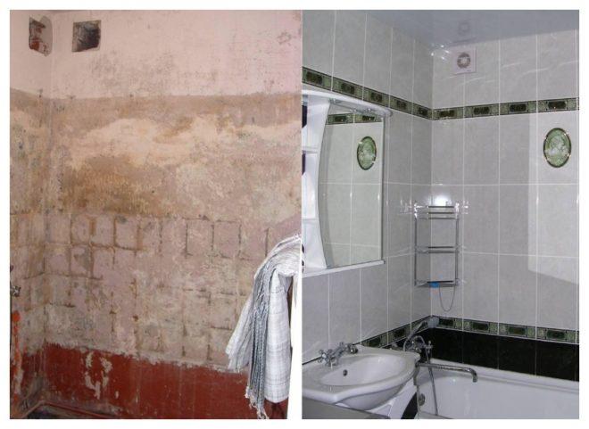 ванная до и после ремонта