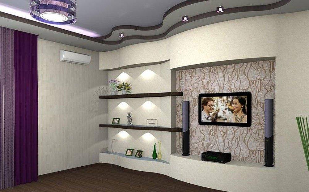 фото дизайна гостиной с выступами у потолка комната