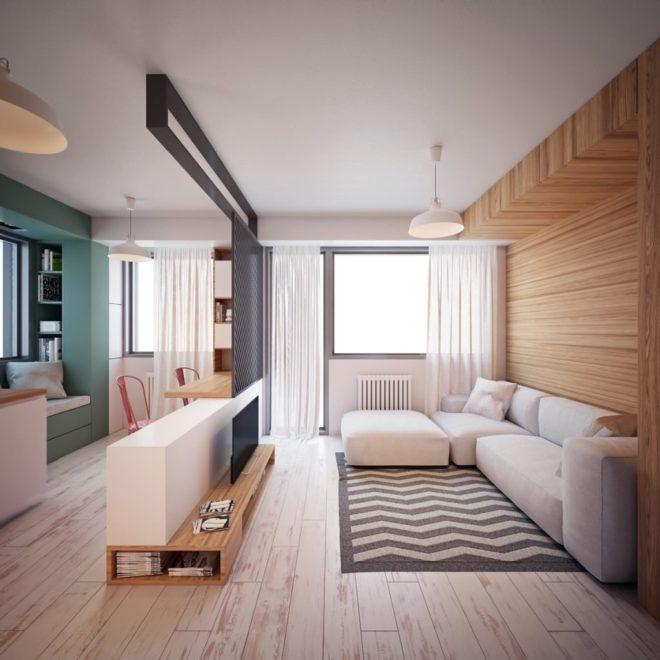 Дерево в оформлении однокомнатной квартиры 33 кв.м