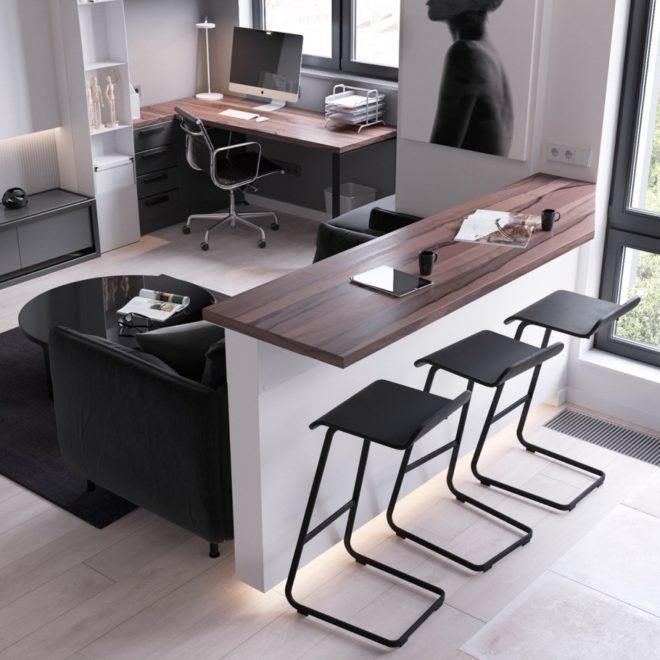 Зонирование однокомнатной квартиры с помощью перегородки